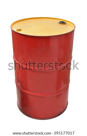 Oil barrel dirty drum isolated on white background. Thai has clipping path. - stock photo