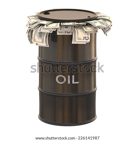 Oil barrel full of dollars inside. Clipping path included. - stock photo