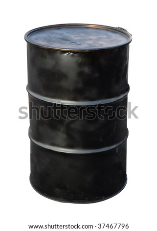 Oil barrel isolated on white - stock photo