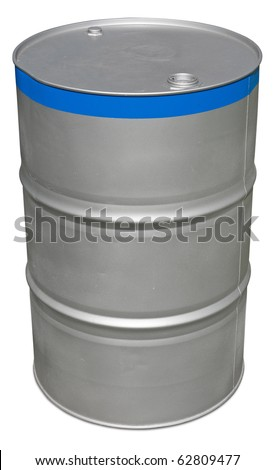 Oil barrel isolated on white. Clipping path included. - stock photo