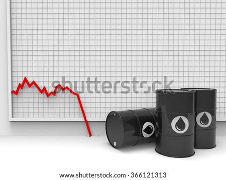 oil barrel price drop multiple - stock photo