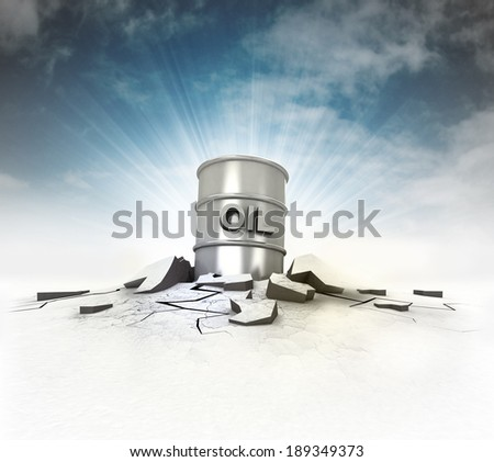 oil barrel stuck into ground with flare and sky illustration - stock photo