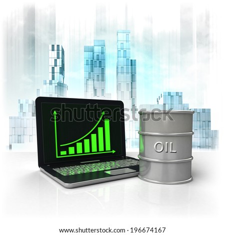 oil barrel with positive online results in business district illustration - stock photo