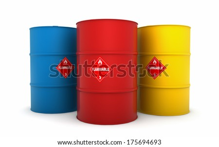 Oil barrels isolated on white - stock photo