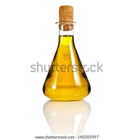 oil bottle isolated on white background - stock photo