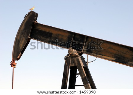 Oil derrick in Kern County #3, close up. - stock photo