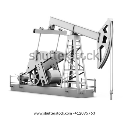 Oil derrick isolated on white background. 3d rendering. - stock photo
