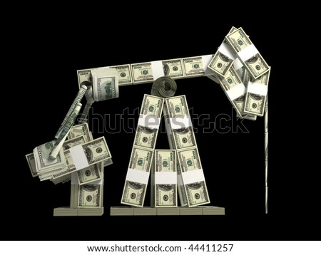 oil derrick made from money isolated on black background - stock photo