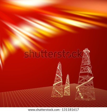 Oil derrick with red backdrop.  Illustration. - stock photo