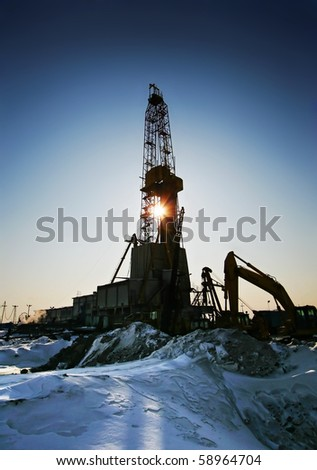 Oil derricks - stock photo