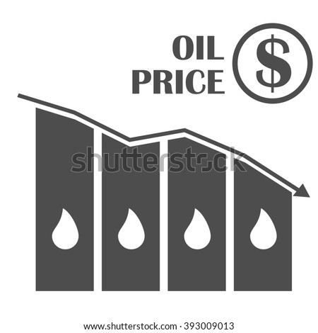 Oil down graphic . Concept illustration. Drop in oil prices. Oil infographics. Oil prices reduction crisis. - stock photo