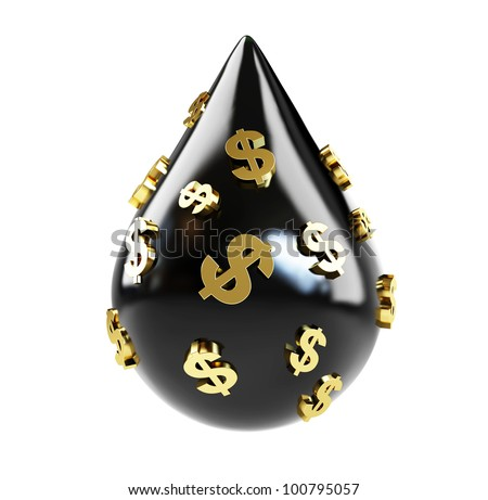 oil drop dollars price of oil on a white background - stock photo