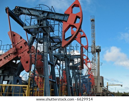 Oil extraction in west Siberia. - stock photo