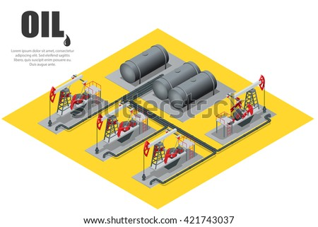 Oil field extracting crude oil. Oil pump. Oil industry equipment. Flat 3d isometric illustration - stock photo