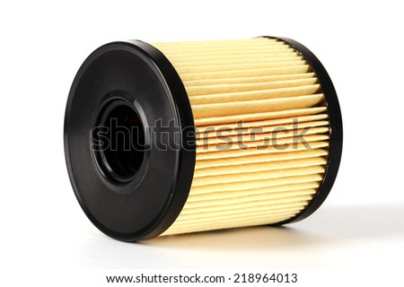 Oil filter element used for cleaning of oil in the combustion engine - stock photo