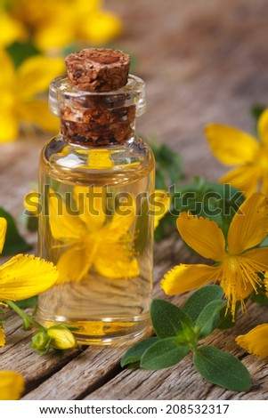 oil from the flowers of St. John's wort in a glass bottle macro vertical  - stock photo
