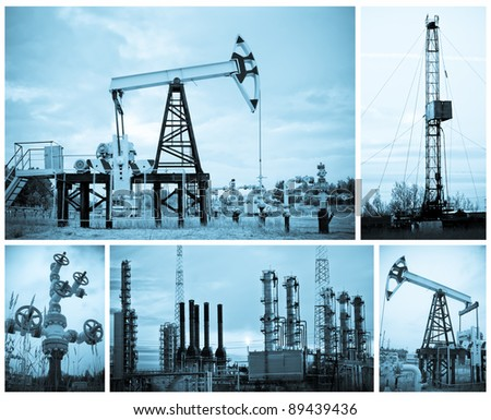 Oil, gas industry. Collage. Monochrome. - stock photo