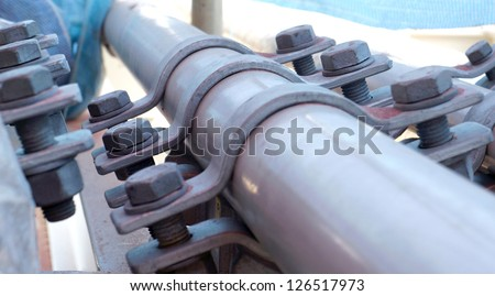 Oil & Gas piping with support. - stock photo