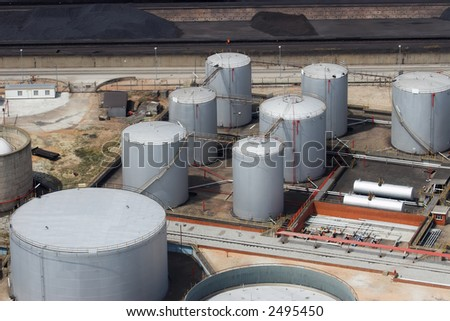 Oil, gasoline and gas storage at a refinery - stock photo