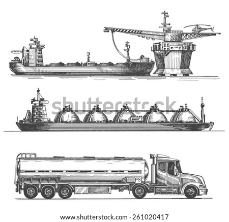 oil, gasoline, petroleum on a white background. sketch - stock photo