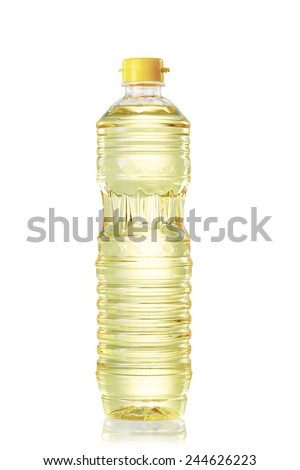Oil in plastic bottle for cooking on with background - stock photo