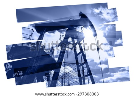 Oil industry abstract composition background. Oil and gas industry. Photo collage toned blue. Isolate on a white. - stock photo