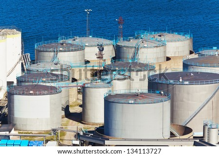 Oil industry business concept: industrial fuel storage factory area of the refinery plant - stock photo