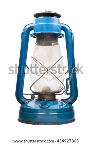 Oil lamp, blue color on a white background - stock photo