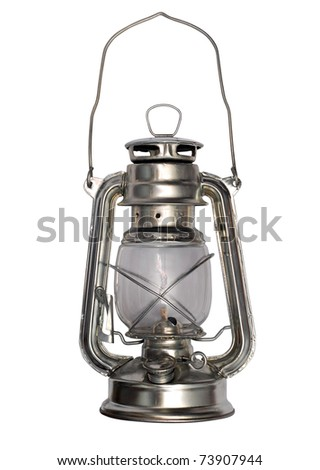Oil lamp isolated on a white background - stock photo