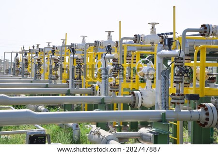 Oil Manifold on Metering Station - stock photo