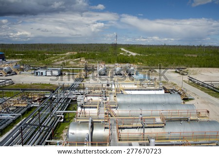 Oil ndustry and gas industry. Work of refinery petrochemical plant. Oil reservoir and storage tank. Gas station - stock photo
