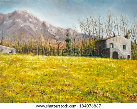 oil on canvas of a farmhouse nestled in the autumn meadow - stock photo