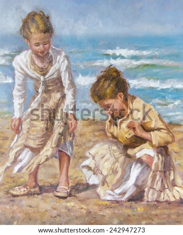oil on canvas of young girls between the sand - stock photo