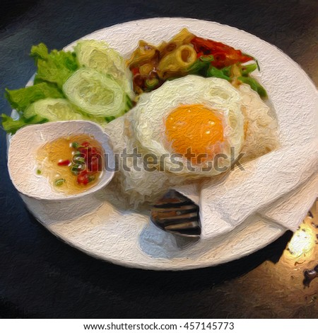 Oil paint affect, thai food,spicy seafood with rice and fish sauce,fried egg,thai style food - stock photo