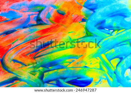 Oil paint and brush drawing colorful abstract background - stock photo