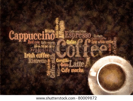 Oil paint draw coffee picture - stock photo