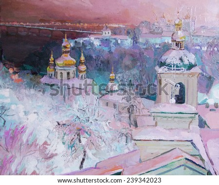 oil painting, a top view of the city and the church in winter pattern - stock photo