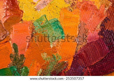 Oil painting abstract brushstrokes closeup - stock photo