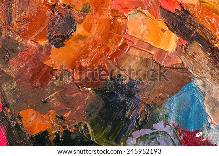 Oil painting abstract brushstrokes on canvas - stock photo
