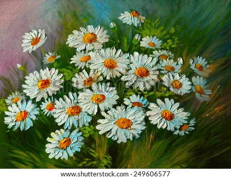 Oil Painting - abstract illustration of flowers, daisies, greens  - stock photo