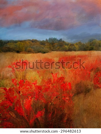Oil Painting autumn fields and sky, bright red leaves and clouds  - stock photo