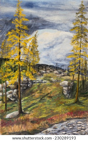 Oil painting. Autumn in the North - stock photo