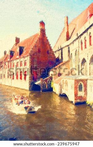 oil painting bruges scene - stock photo