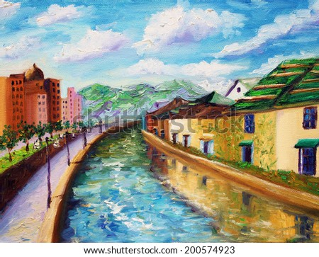Oil Painting - Canals of Otaru, Japan - stock photo