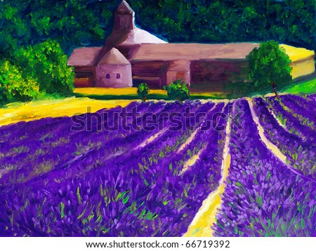 Oil Painting - Countryside_Lavender Farm - stock photo