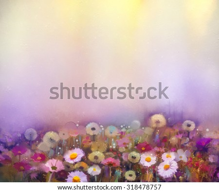 Oil painting flowers dandelion, poppy, daisy, cornflower in fields. Hand Paint Wildflowers field in summer meadow. Spring floral seasonal nature with yellow and violet in soft color background. - stock photo