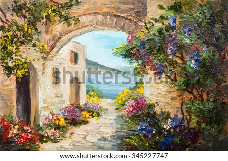 oil painting - house near the sea, colorful flowers, summer seascape - stock photo