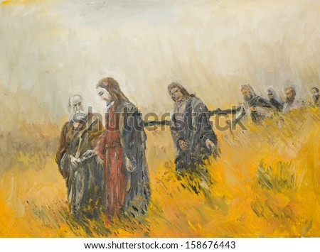 oil painting illustrating a religious scene, jesus christ and his disciples on a meadow - stock photo