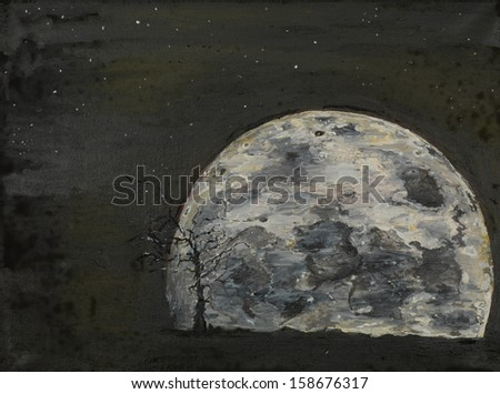 oil painting illustrating a surreal full moon  - stock photo