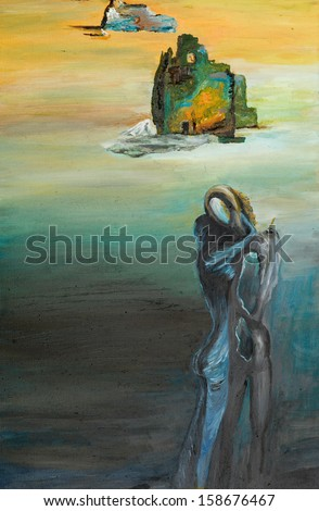 oil painting illustrating a surreal scene, two people embracing each other - stock photo